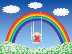 Mädchen Regenbogen Schaukel